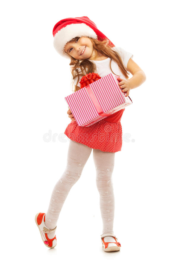 Free Child Holding Christmas Gift Box In Hand. On Background Stock Images - 48213524