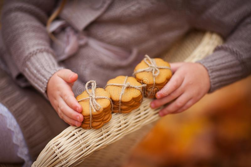Child holding gingerl cookies  in hands. Close up photo of delicious and crunchy ginger cookies on autumn background. Baking is stock photography