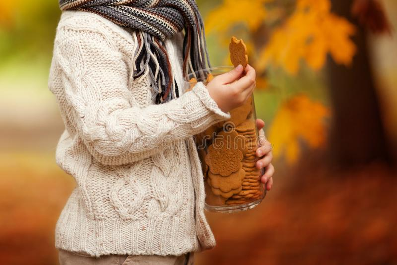 Child holding Oatmeal cookies in glass jar  in hands. Close up photo of delicious and crunchy ginger cookies on autumn background stock image