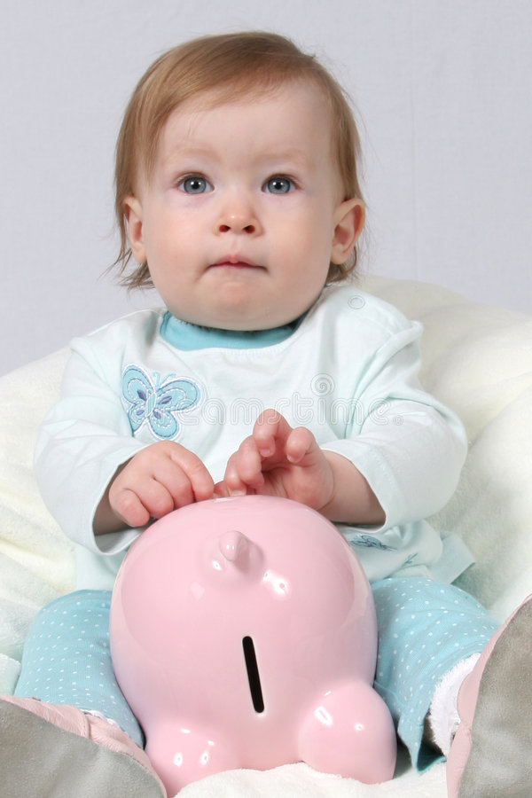 Download Child Holding Piggy Bank stock image. Image of newborn - 2300551