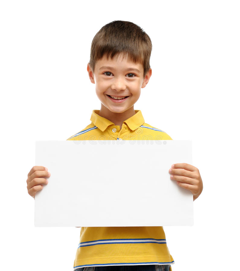 Child holding poster royalty free stock photo