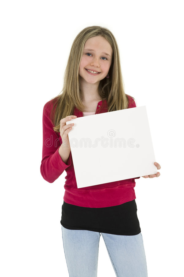 Child holding sign stock photography