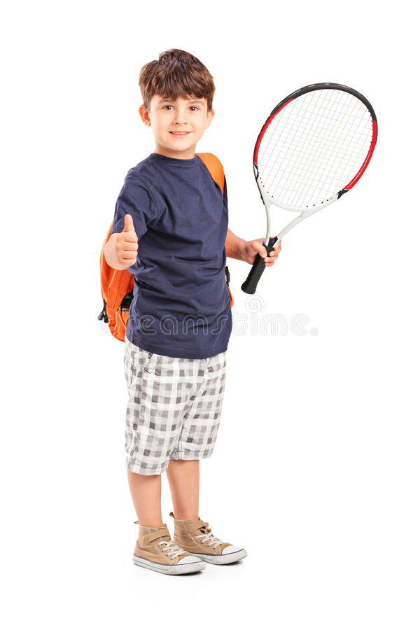 Download Child Holding A Tennis Racket And Giving Thumb Up Stock Image - Image: 26636323