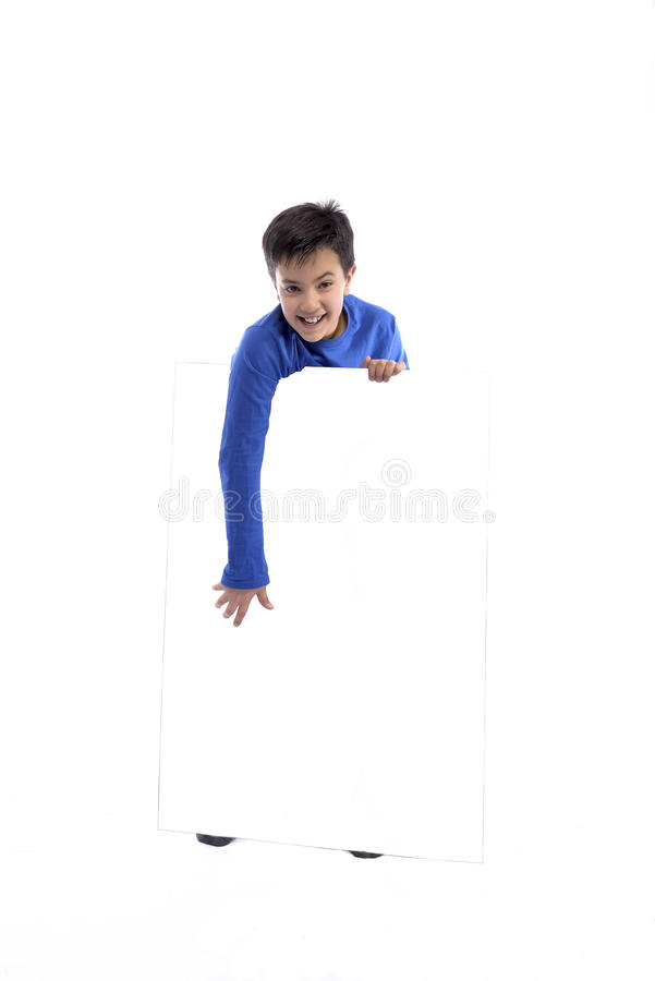 Child Holding White Message Sign stock photo
