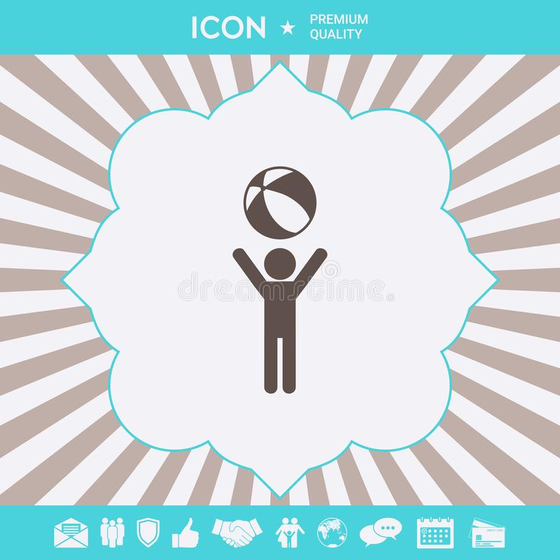 Child holds children toy, bouncy ball - icon. Element for your design vector illustration