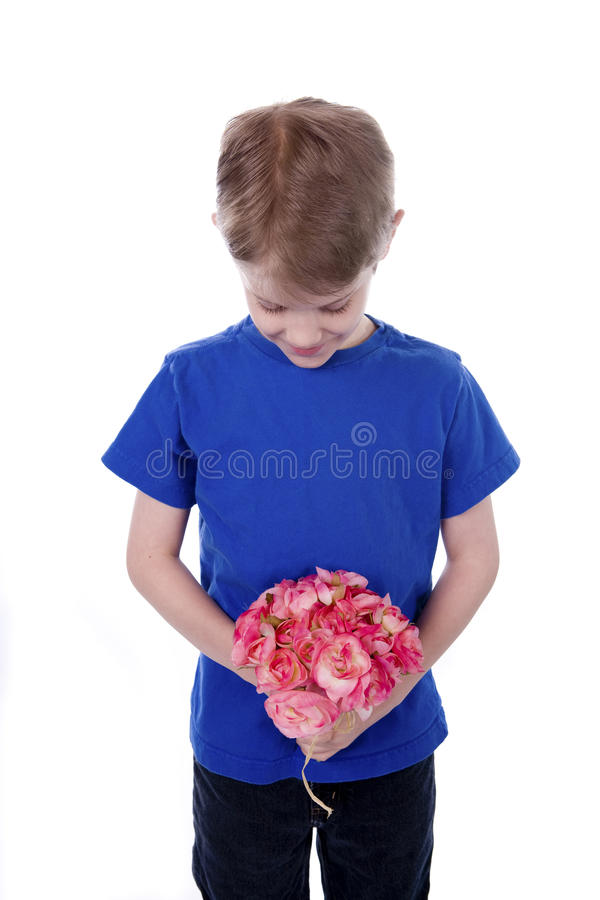 Child holidng Flowers royalty free stock photography