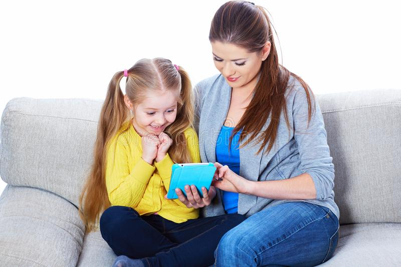 Child home education with tablet PC. stock photography