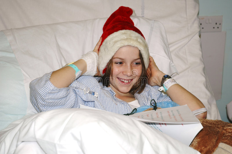 Child in hospital at christmas. Nikon D70, portrait of child aged 9 years royalty free stock photography