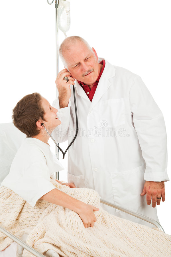 Child in Hospital with Doctor royalty free stock image