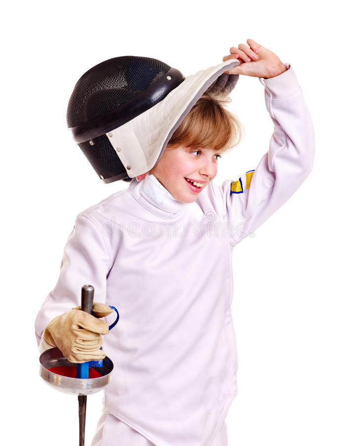 Free Child In Fencing Costume Holding Epee . Stock Photos - 23612953