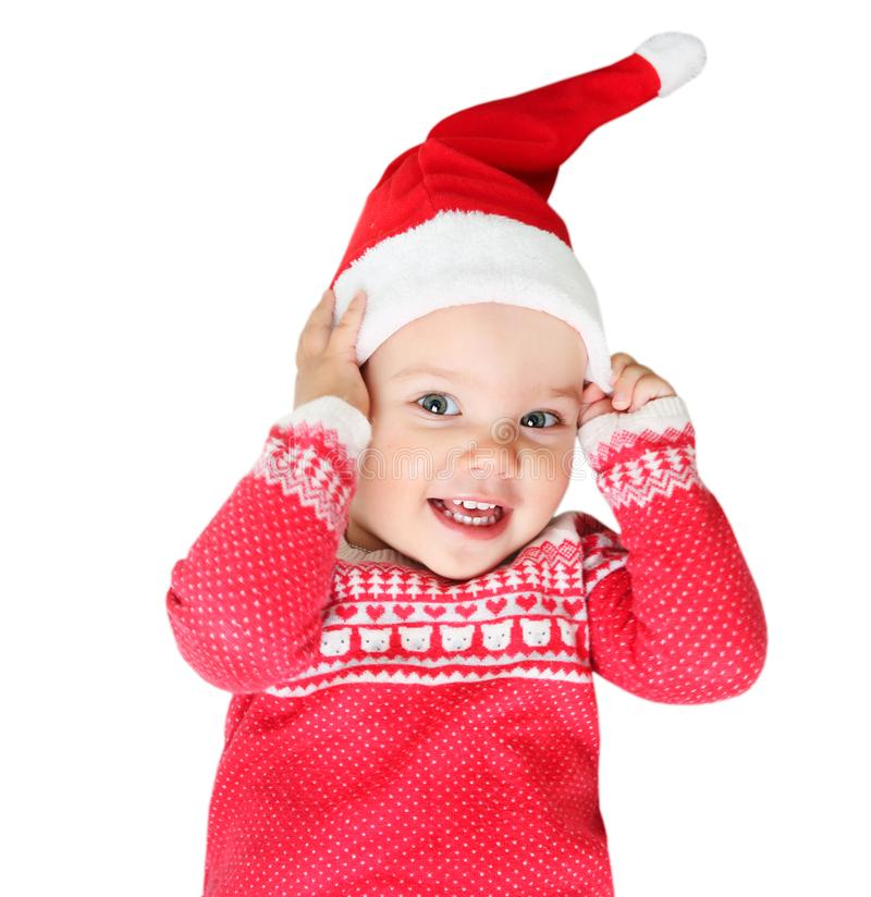 Free Child In Santa Hat And Red Christmas Costume Isolated. Stock Photo - 126868380