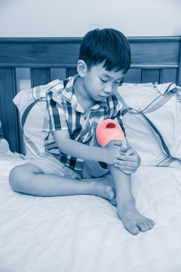 Child injured on his knee. Children have been an accident royalty free stock images
