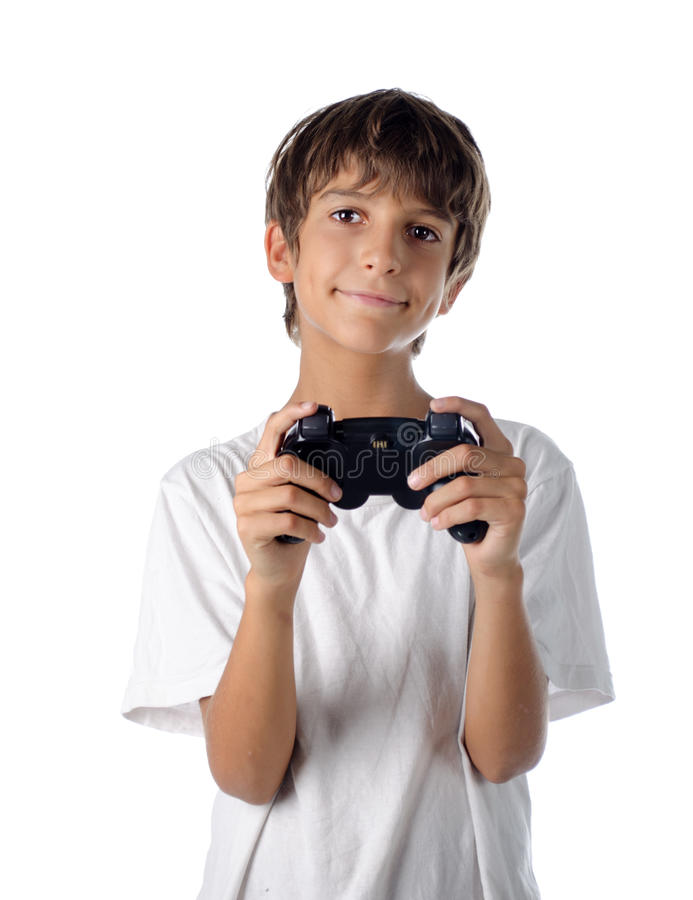 Child with joystick playing videogames royalty free stock images
