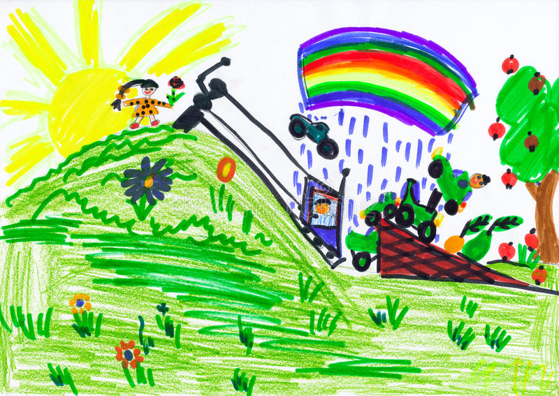 Child jumping in car over hill . child drawing. Child jumping in car over hill . childs drawing vector illustration