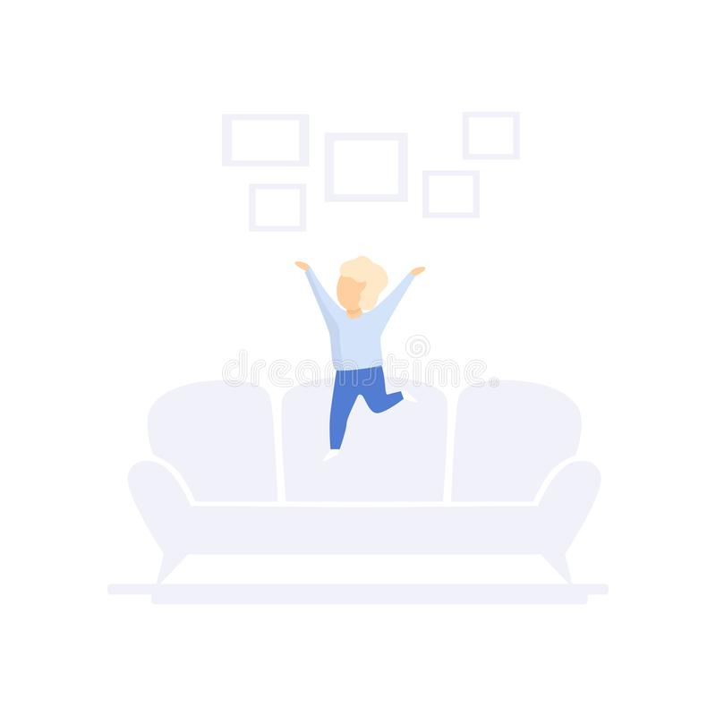 Child jumping on sofa, family lifestyle concept vector Illustration on a white background. Child jumping on sofa, family lifestyle concept vector Illustration royalty free illustration