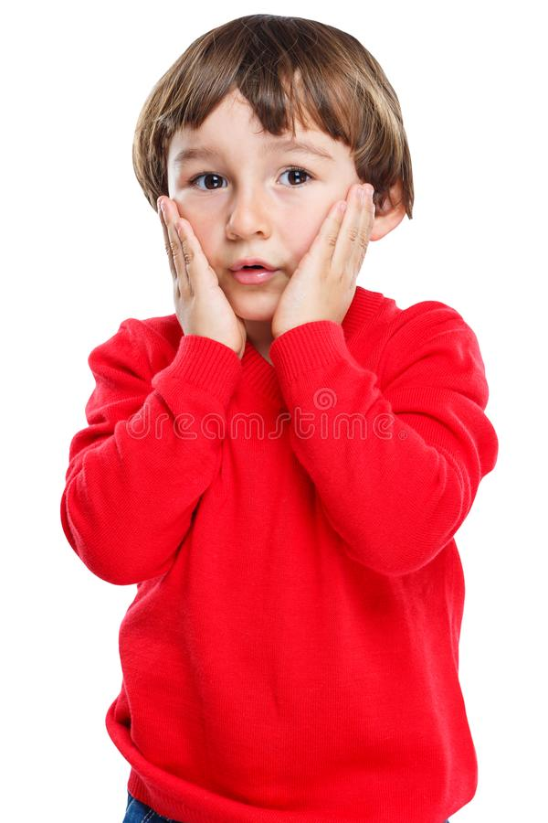Child kid boy fear sorrow anxious afraid worried emotion portrait format isolated on white stock images