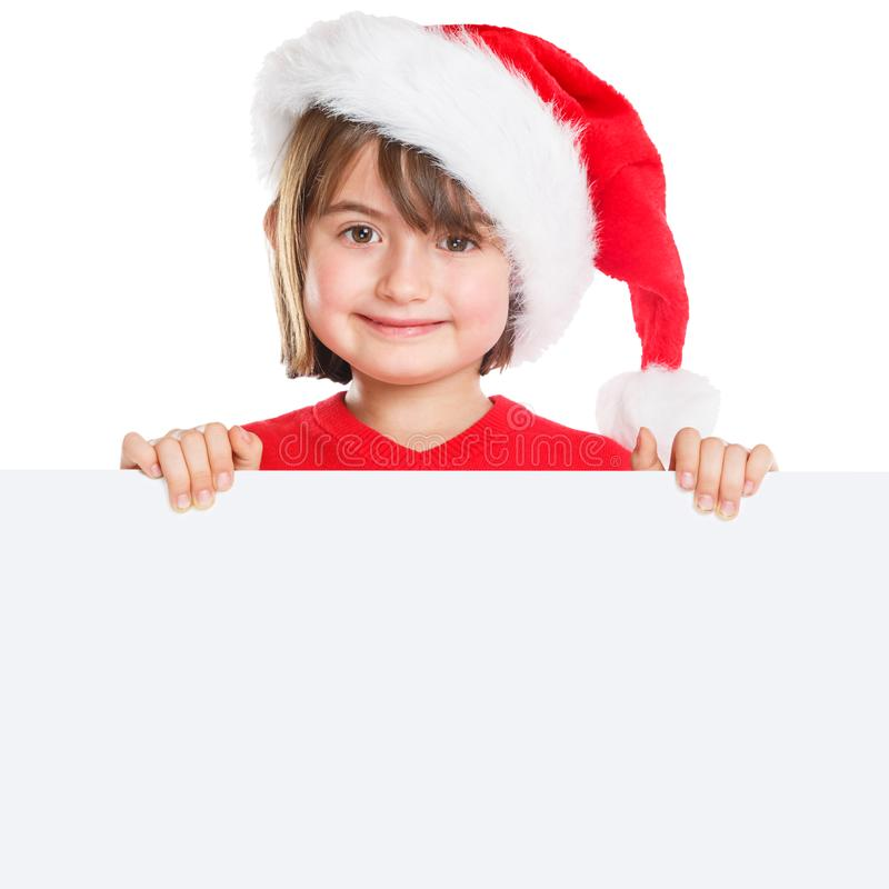 Child kid girl Christmas Santa Claus empty banner square copyspace isolated on white royalty free stock images