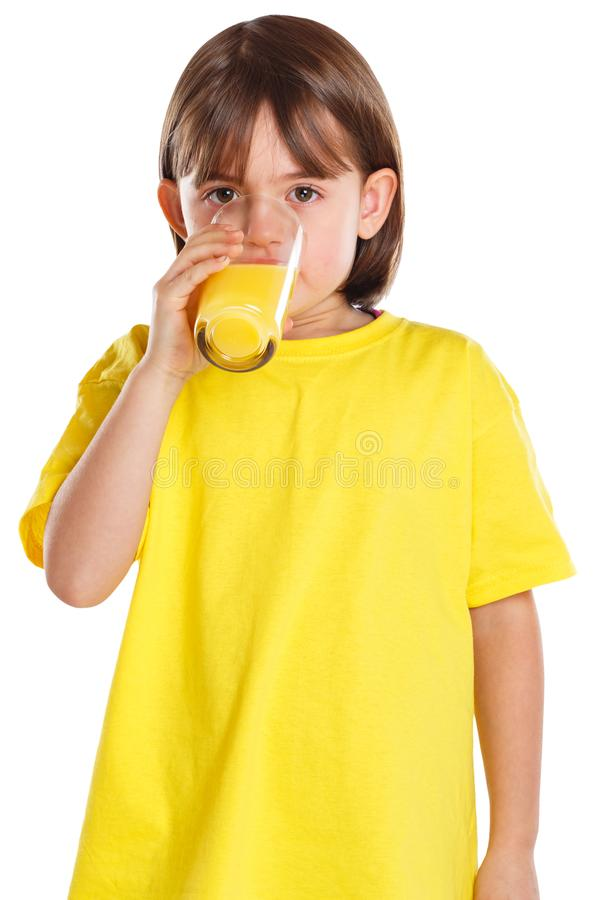 Child kid girl drinking orange juice healthy eating portrait format isolated on white stock images