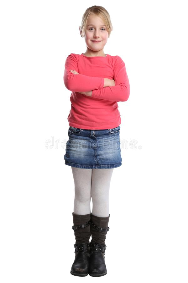 Child kid girl full body portrait isolated on white. Child kid girl full body portrait isolated on a white background royalty free stock images