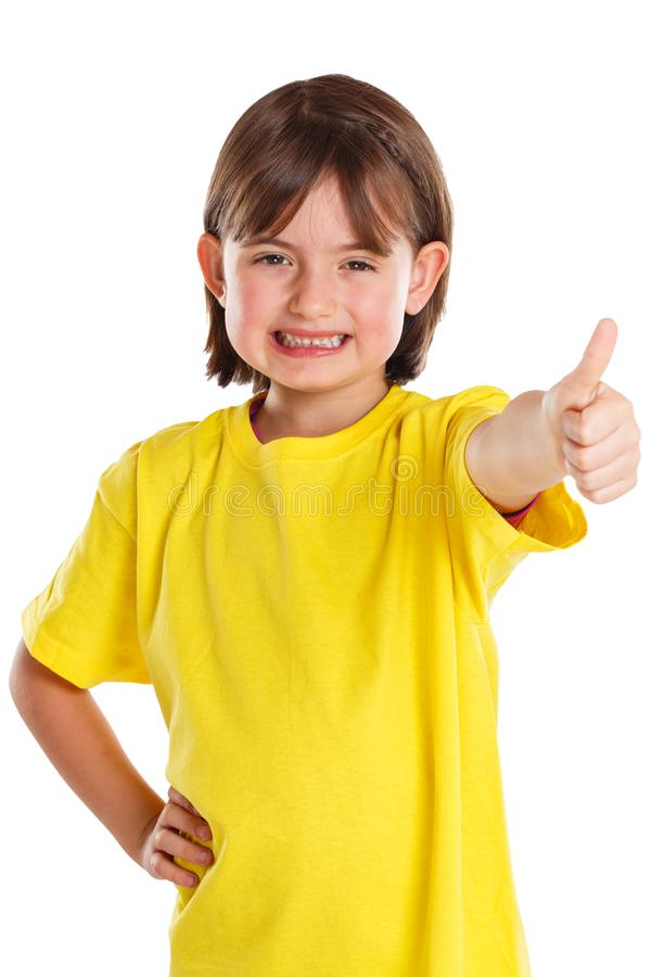 Child kid girl young success good positive thumbs up isolated on white royalty free stock image