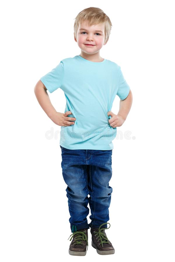 Child kid little boy blond hair full body portrait isolated on w royalty free stock images