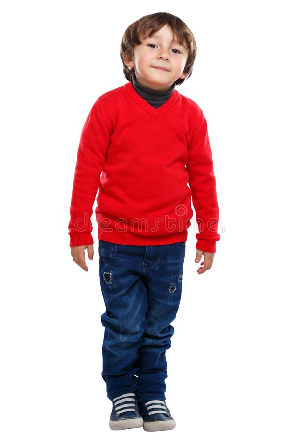 Child kid little boy full body portrait isolated on white royalty free stock photo