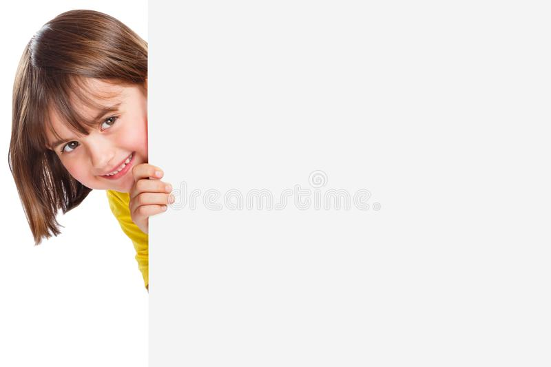 Child kid smiling young girl copyspace marketing ad advert empty blank sign isolated royalty free stock images