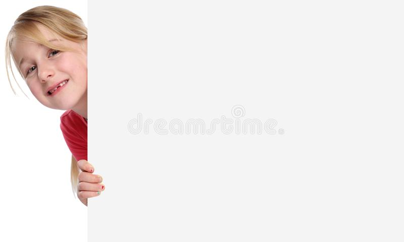 Child kid smiling young girl copyspace marketing empty blank sign isolated. On a white background royalty free stock images