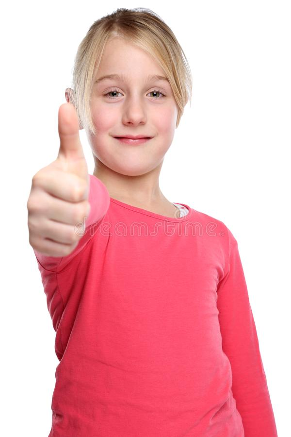Child kid smiling young girl success thumbs up isolated on white. Child kid smiling young girl success thumbs up isolated on a white background stock images
