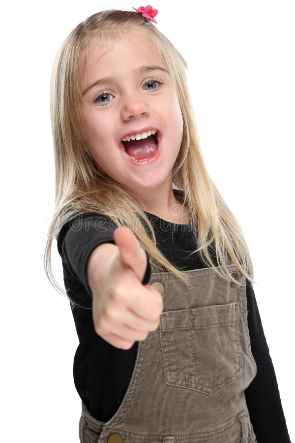 Child kid smiling young little girl success thumbs up isolated o royalty free stock photography