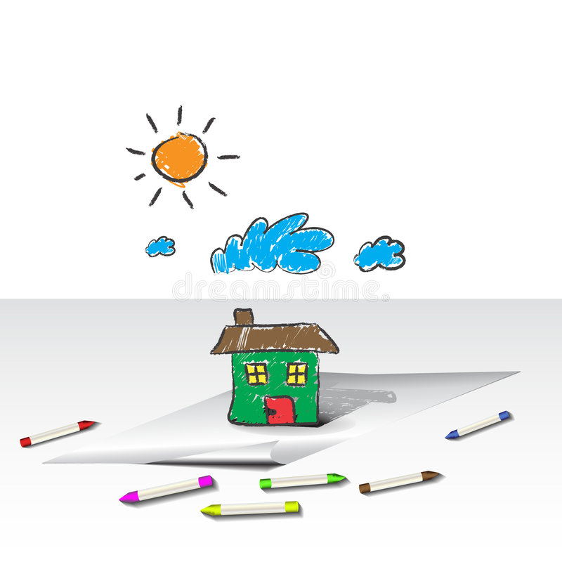 Child kids drawing of a house or home stock illustration