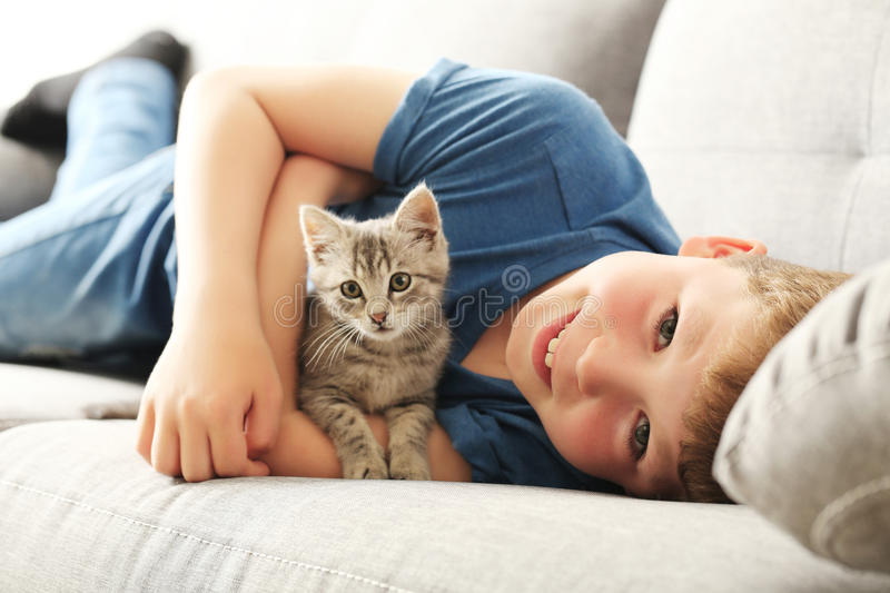 Child with kitten. On grey sofa at home stock images