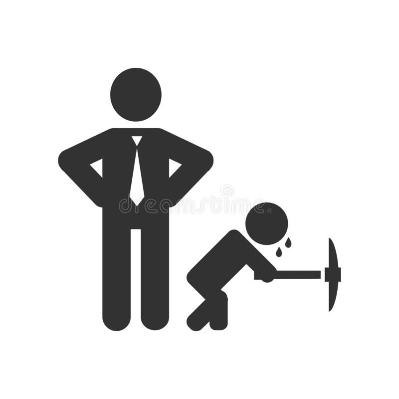 Child labour vector illustration with working kid and businessman. stock illustration
