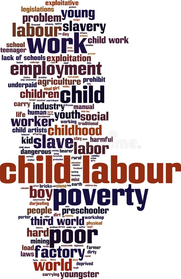Child labour word cloud royalty free illustration