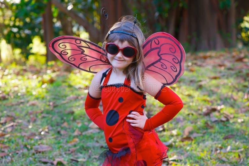 Child in ladybug costume stock image