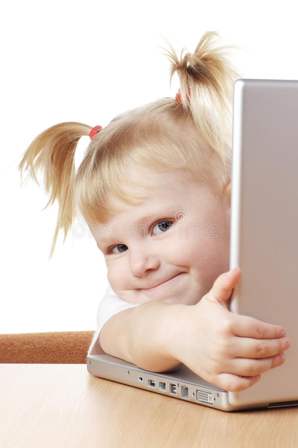 Download Child and laptop stock image. Image of notebook, funny - 13702727