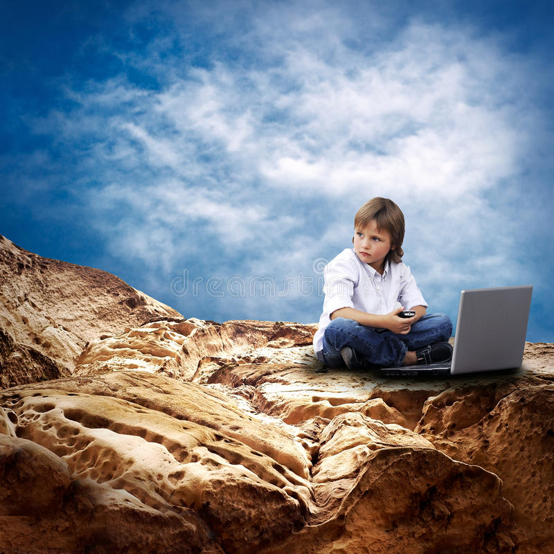 Download Child with laptop stock photo. Image of rock, scenic - 16773230
