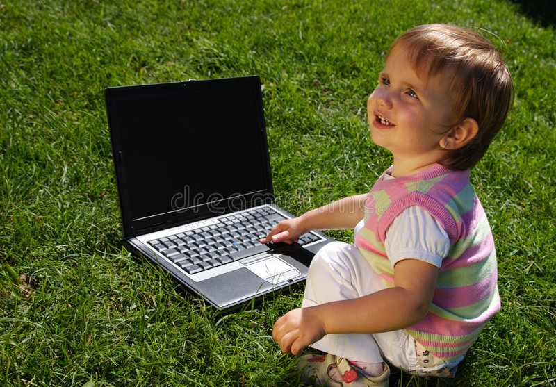Download Child with laptop stock image. Image of green, colorful - 7437085