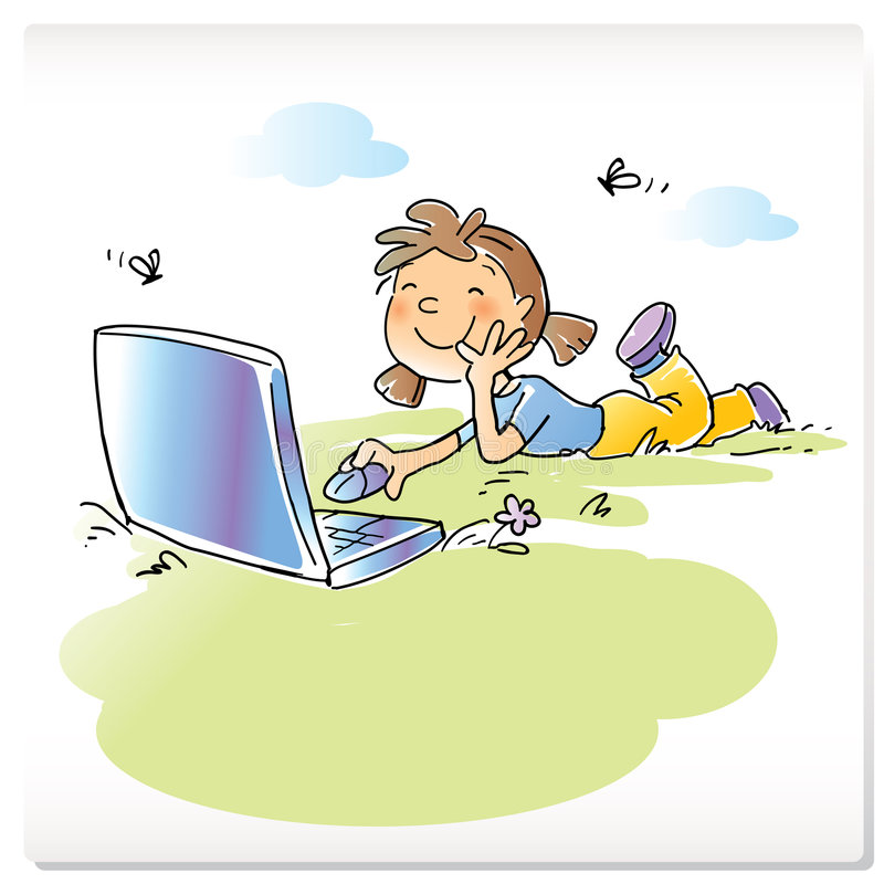 Child with laptop computer. Vector cartoon funny girl sitting on grass with laptop computer, hand- drawing style royalty free illustration