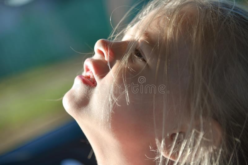 The child laughs in the car, face, close-up royalty free stock photo