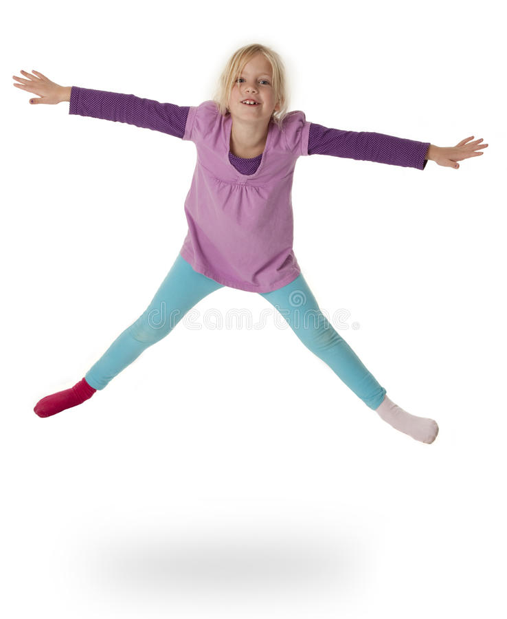 Child Leaping in Air stock photos