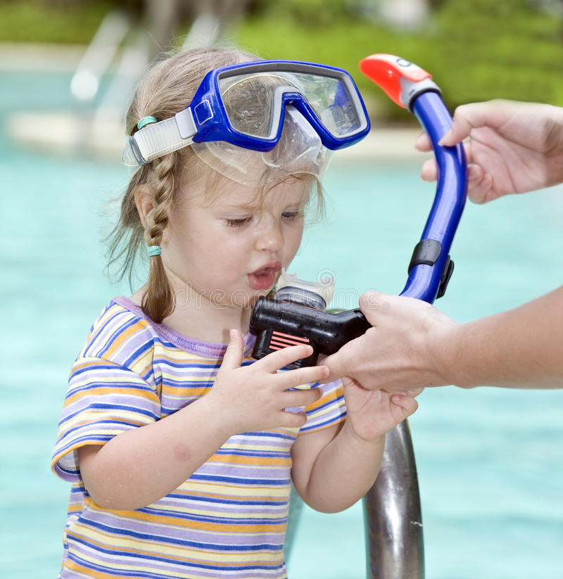 Download Child Learn To Swim . Royalty Free Stock Images - Image: 9377639