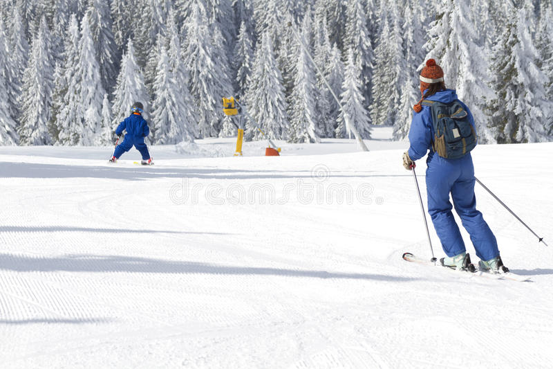 Download Child learning to ski stock image. Image of adventure - 19139325
