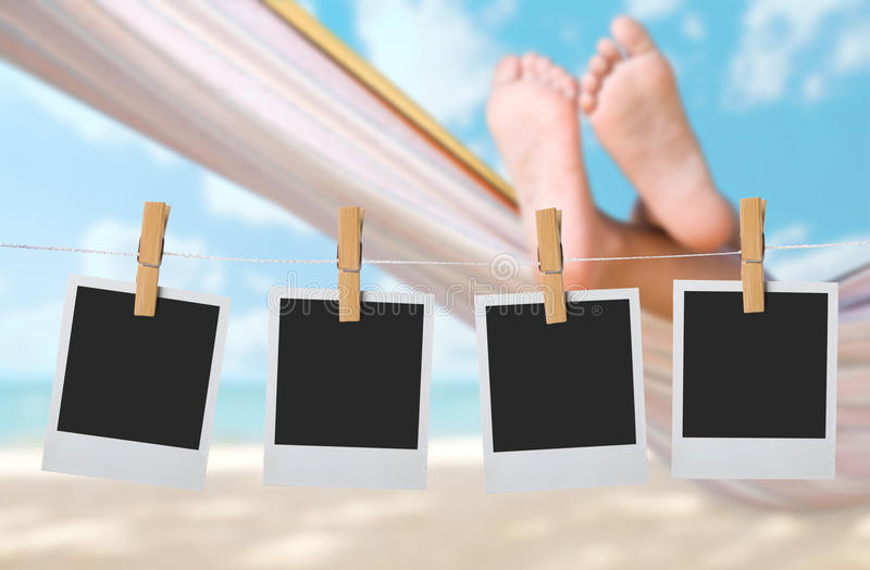 Child legs on hammock. At sea beach royalty free stock image