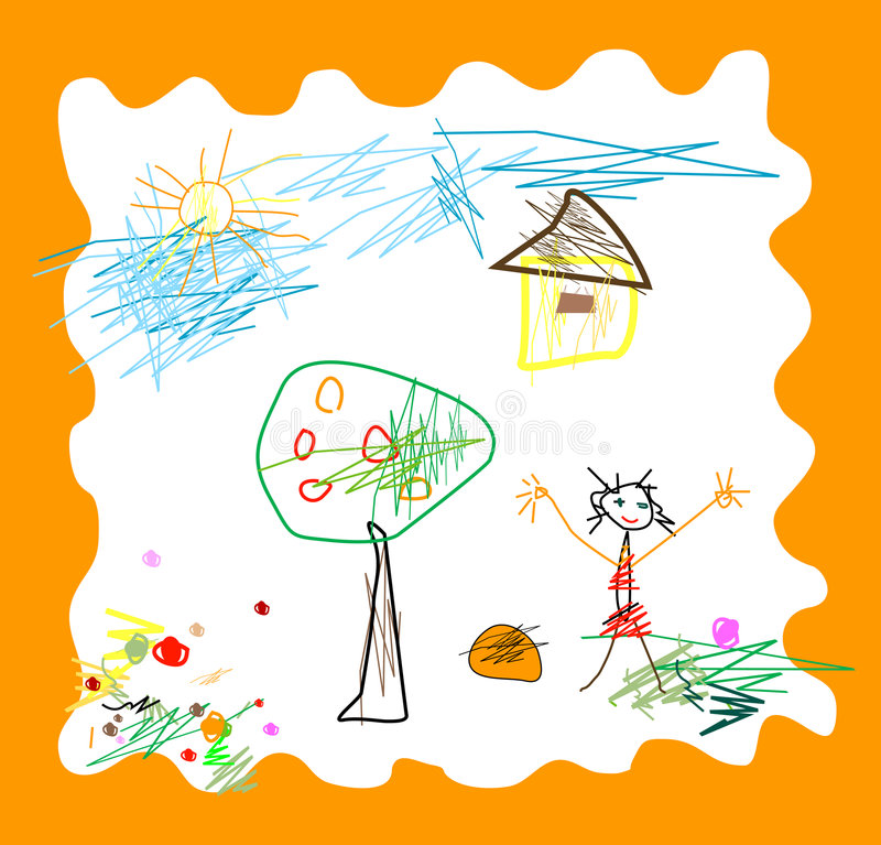 Child like drawing royalty free illustration