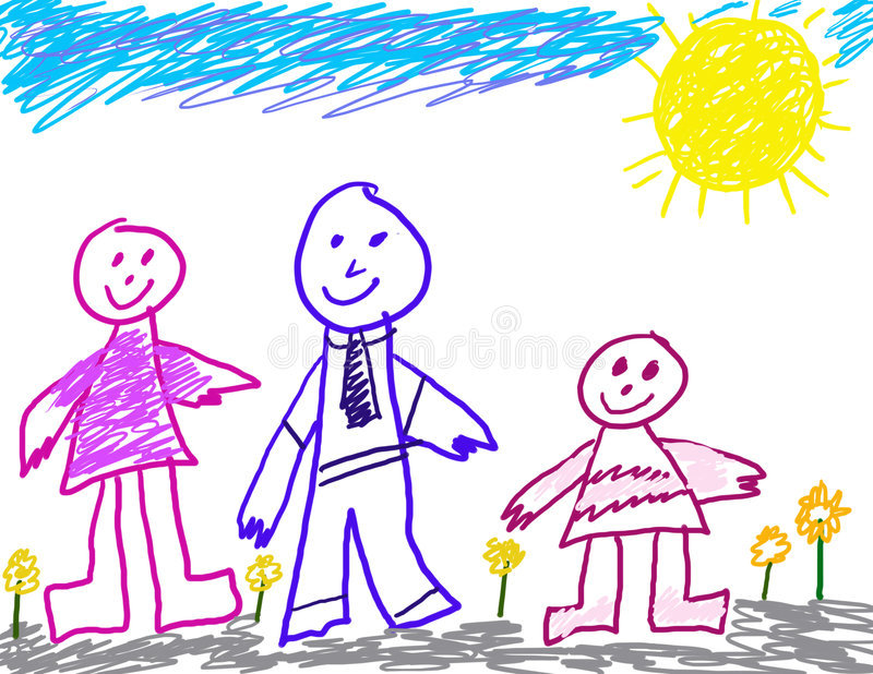 Child like drawing of family stock illustration