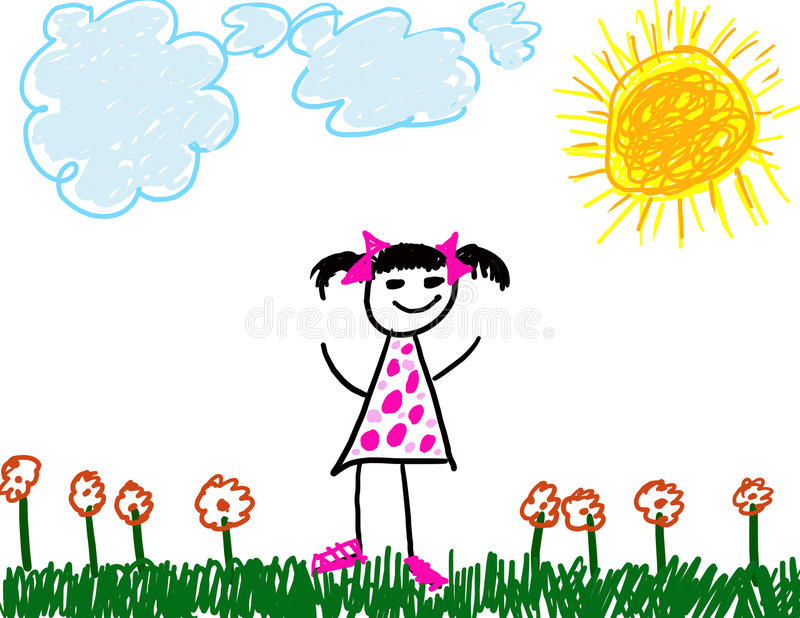 Child like drawing of girl royalty free stock photography