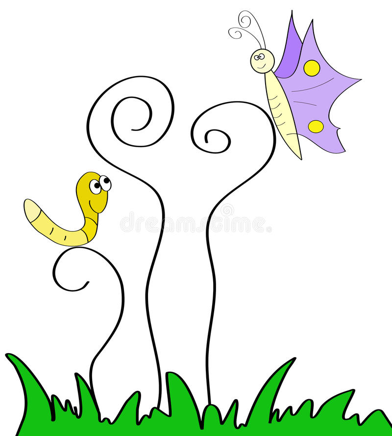 Child Like Drawing Of Nature Insect Scenery stock illustration