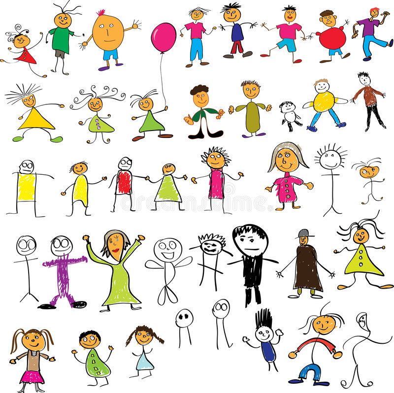 Child like drawings stock illustration
