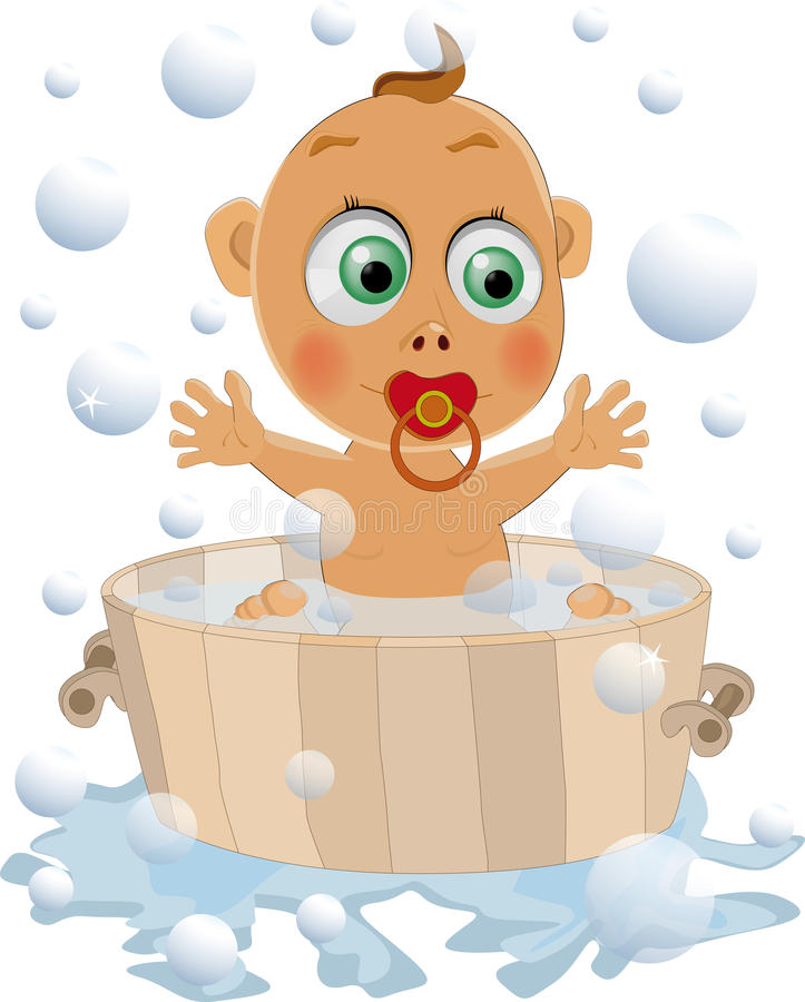 The Child Likes To Wash Royalty Free Stock Images